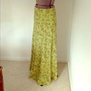 6 Long Linen Skirt Print Maxi